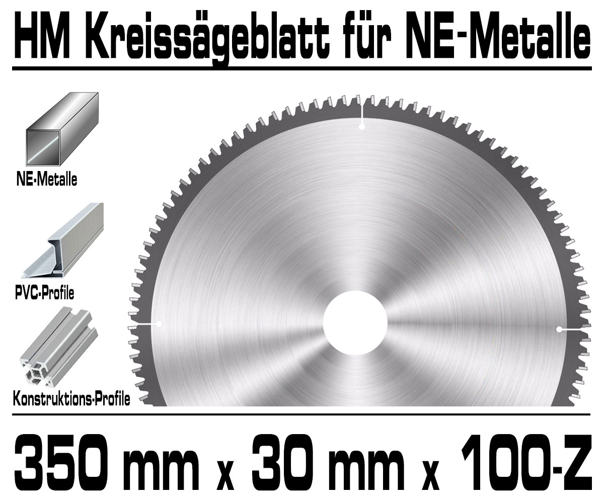 ALU 350mm x 30mm x 100 Zähne QUALITÄT Hartmetall HM Sägeblatt Kreissägeblatt f