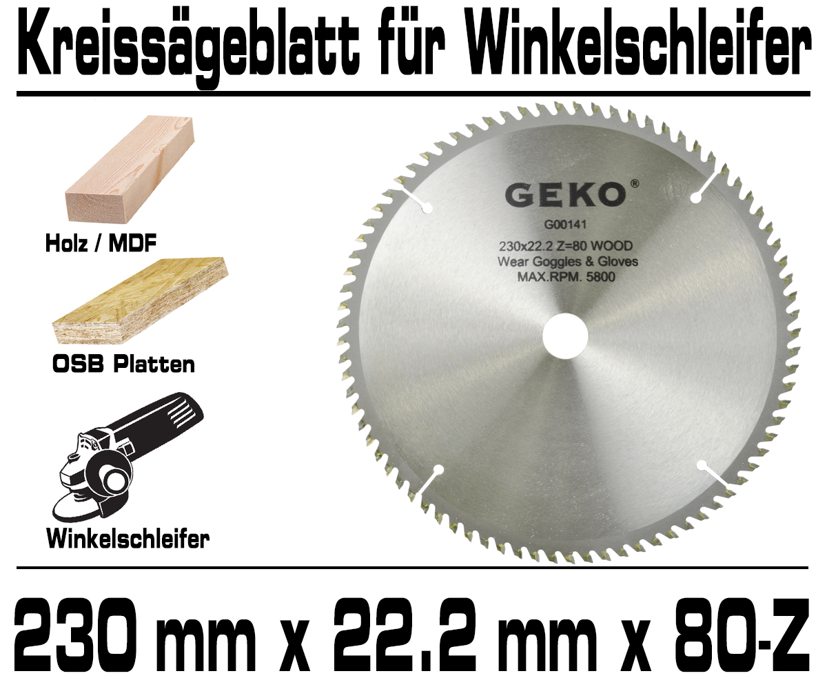 Kreissägeblatt Sägeblatt Für 230mm Winkelschleifer Trennschleifer 80-Zahn G00141