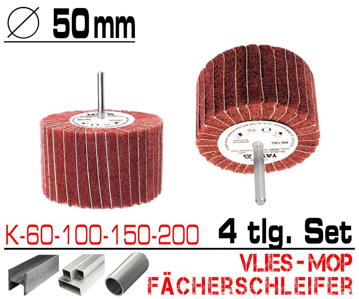 4 x Schleifmop Vlies Mop Lamellen Walze Fächer Schleifer Ø 80mm K 60 100 150 200