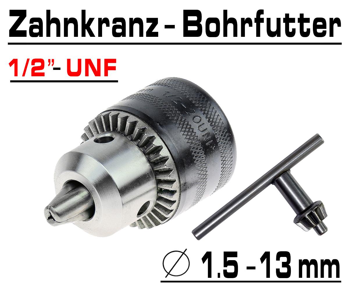 """Bohrmaschinen Futter 1//2/"""" UNF Profi Zahnkranz Bohrfutter Bohrer Gr bis Ø 16mm"""