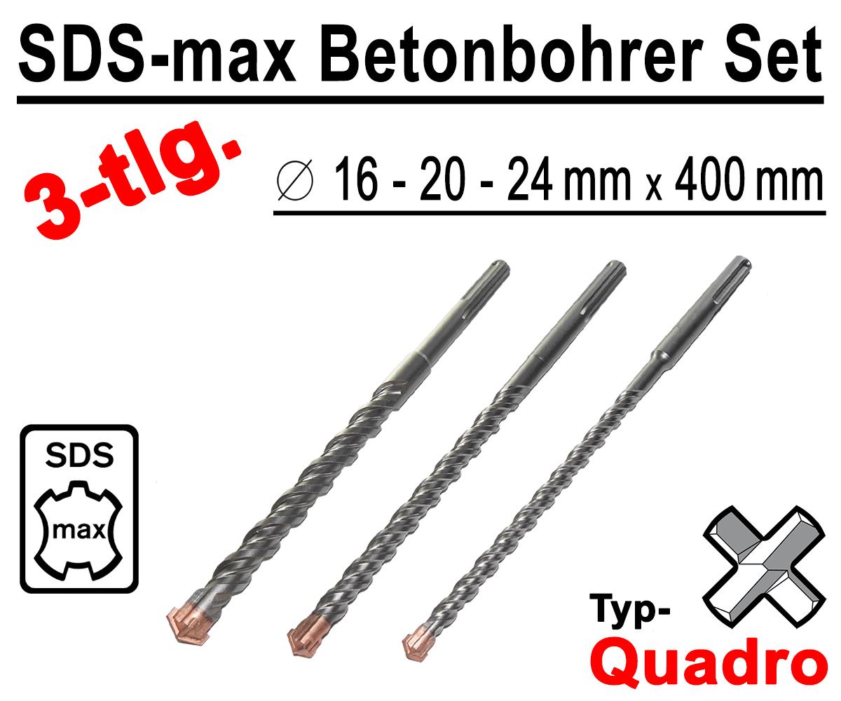 SDS-MAX Hammerbohrer Betonbohrer Ø 20 x 400 mm Quadro Stein Maurwerk Bohrer