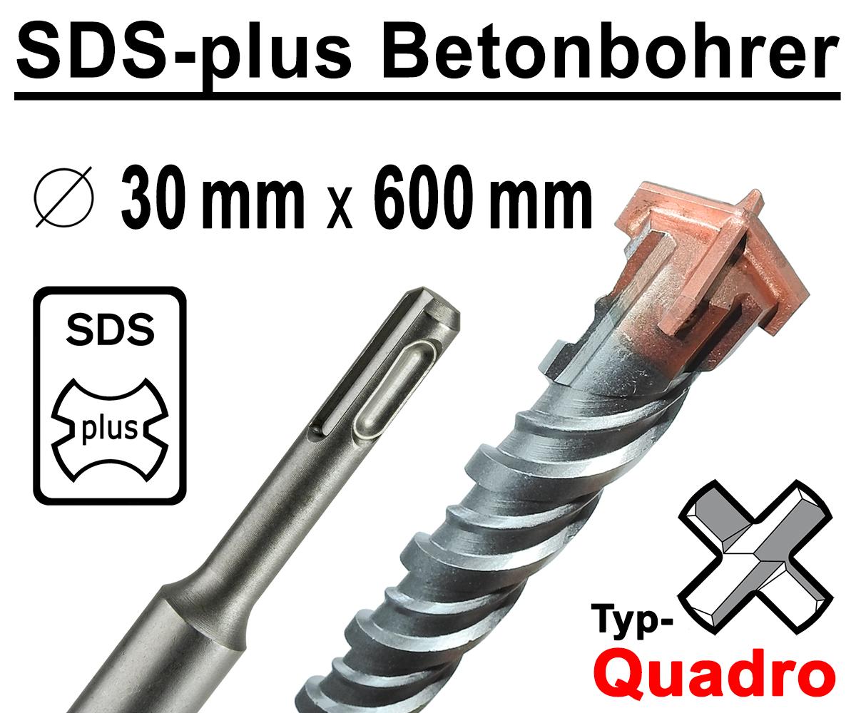 SDS Plus Bohrer Steinbohrer Betonbohrer 14-24 x 600 mm Kreuzschneide Quadro X