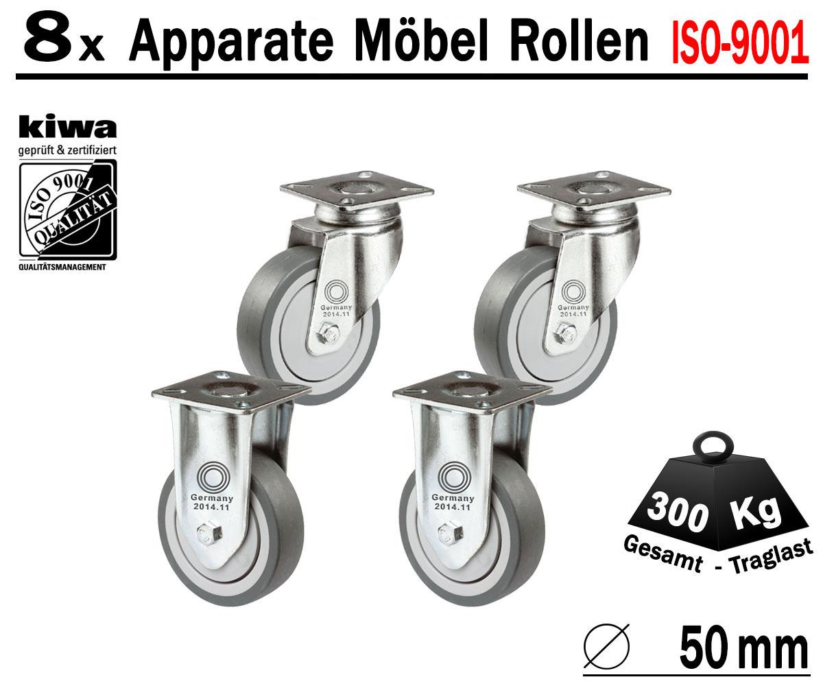 8 x Apparaterolle Lenkrolle Transportrolle Möbelrolle Ø 50 mm Lenk-Brems Rollen