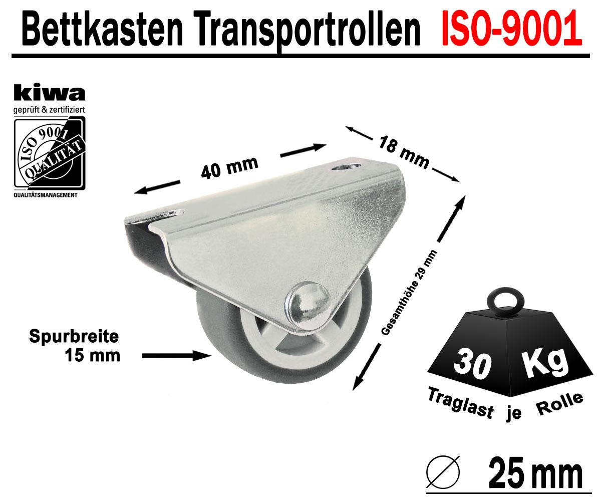 Kastenrolle Tischrolle Möbel Lauf Rollen 16 x Ø 50mm Gummi Grau ISO-9001 Germany