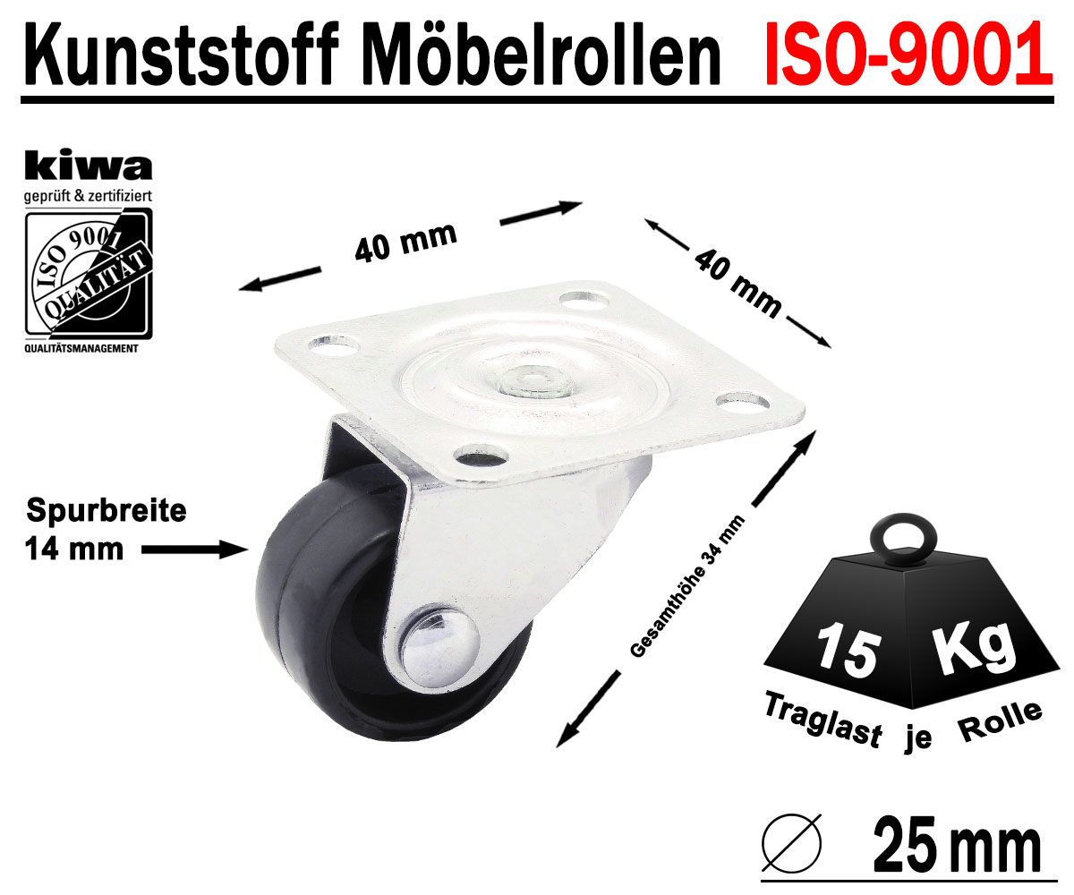 Räder Rollen NEU Raddurchmesser 40 mm Laufrollen 8 Stück Lenkrollen Rad