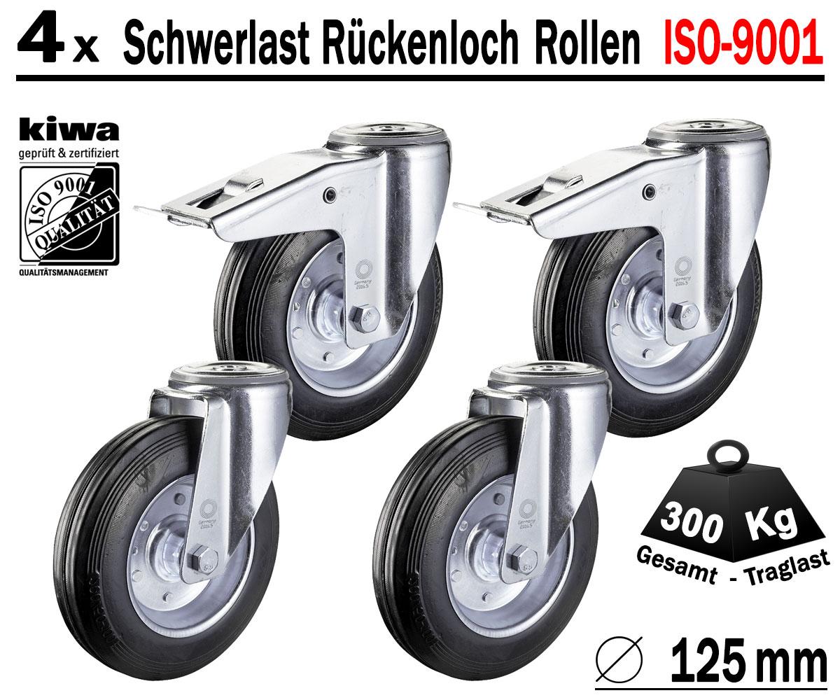 1 x Schwerlast Lenkrolle Ø 125 mm Transport Industrie Rollen ISO 9001 Germany